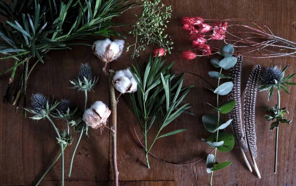 display of the elements needed to make a wreath flower