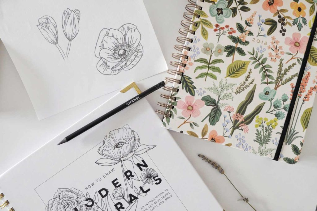 drawing botanical flowers on a piece of papier