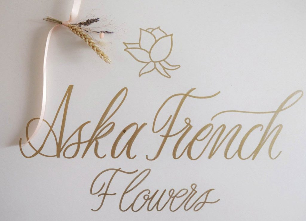 Ask a French Flowers written in calligraphy