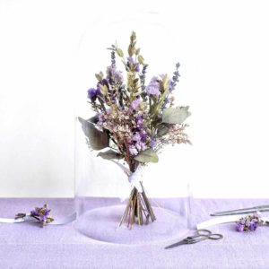 dried bouquet composed of lavender, inspired by the french countryside in a transparent bell