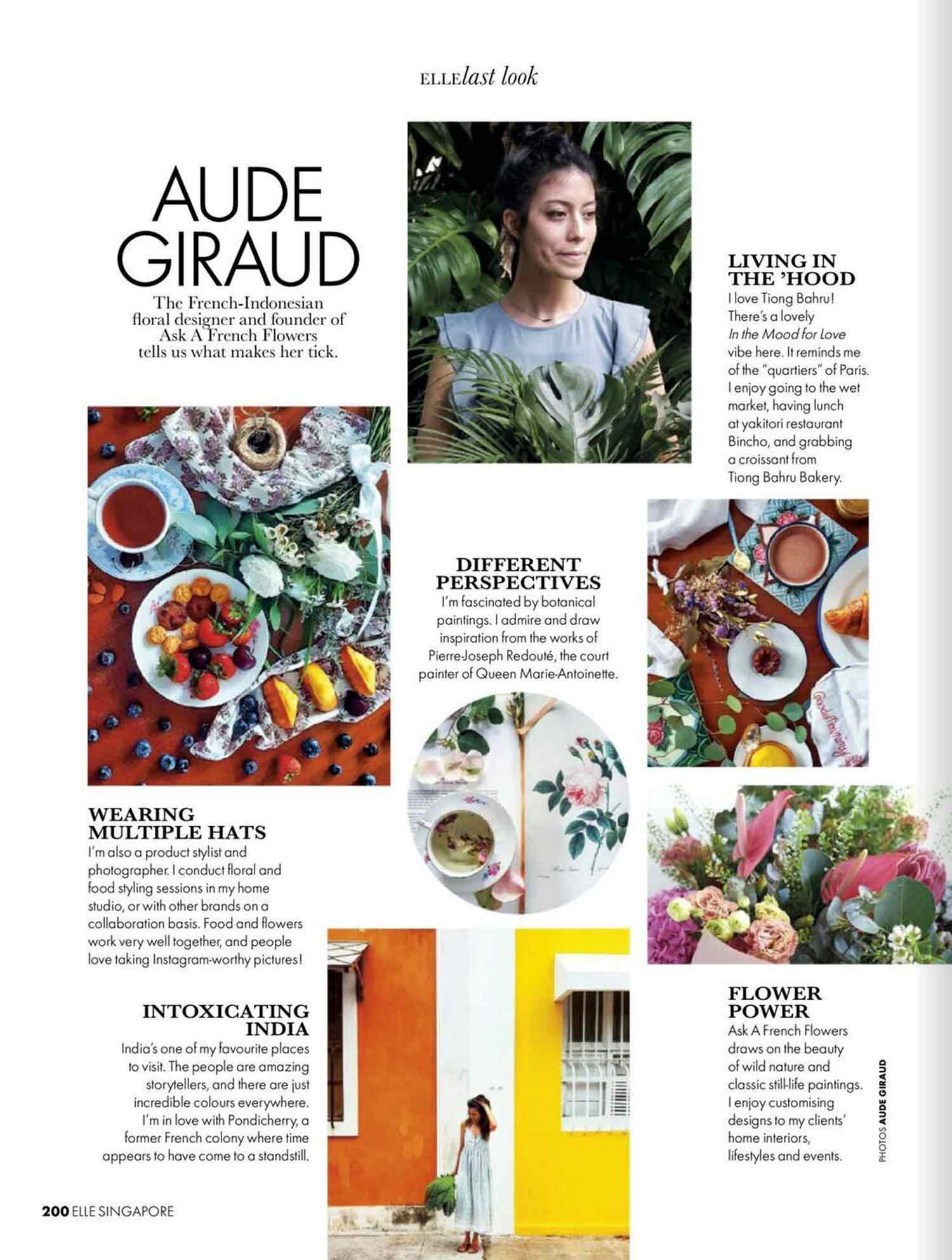 Aude Giraud being interviewed in Elle Singapore magazine